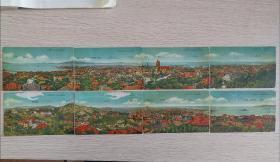 民国时期,青岛全景明信片8张全,非常漂亮,很少见,值得收藏。片上标有主要建筑物名称及地名,部分已不存在。能拼接!