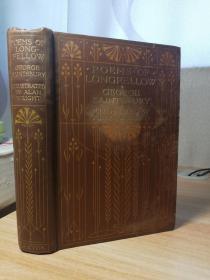 1910年签名 POEMS OF LONGFELLOW   含彩色插图  书顶刷金  封面显旧 但内页干净牢固  品自鉴吧  17.3X12.3CM