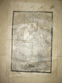 清代 西藏 木板曼荼罗画  一幅(75*51厘米)  七