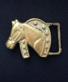 民国:骑兵马头腰带扣,老铜扣美品