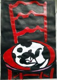 青年书画家胡子彩墨绘画作品:《椅子上的花猫》