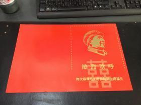 热烈欢迎伟大领袖毛主席和林副主席接见(反面有林彪语录) (保真)1整张 37cmX25cm 折叠为16开类似于书本外封