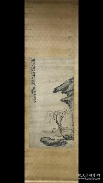 海外回流 名家黄慎款 水墨纸本立轴(垂钓图)