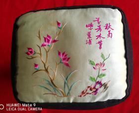 特价民国绣工特别精美漂亮诗词花卉图枕顶一对枕头包老几乎全品