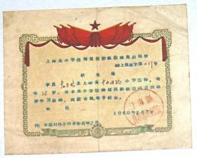 1960年上海县小学教师航模初级教练员训练班 结业证