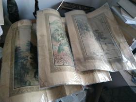 1929年著名画家胡伯翔绘多色套印: 《桃源问津、 竹楼听雨、、 西山放鹤 》三幅 尺寸:41 X 30厘米。月份牌广告画,局部有折痕。