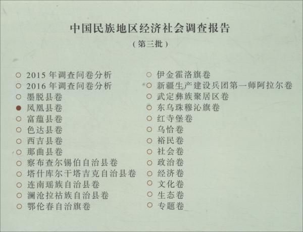 中国民族地区经济社会调查报告:凤凰县卷