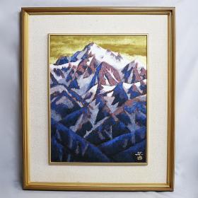 雪山 (作者:富田保和,师川端龙子), 日本画岩彩画原作,真迹保证