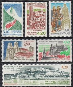 法国1993年 旅游风光:蒙地贝利亚城宫殿 6全 雕刻版