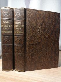 ADVENTURES OF DON QUIXOTE BY DE LA MANCHA   2本全  书顶刷粉 ODHAMS 出版 19x13.2cm