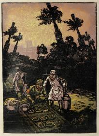 佚名版画《解放军》一副(参加过重要展览或出版,77*55cm)HXTX303167