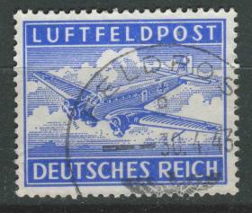 德国邮票 第三帝国 1943年 德国空军军用邮票 飞机 1全信销2