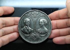 英国大铜章 少见的英国皇室婚礼威尔士王子与丹麦公主 1863年婚礼