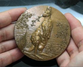法国 大铜章 袋鼠 1979年 7.2厘米 169克
