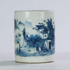 居仁堂制青花瓷江南水乡陶瓷笔筒古董摆件书房瓷器古玩收藏,每个32