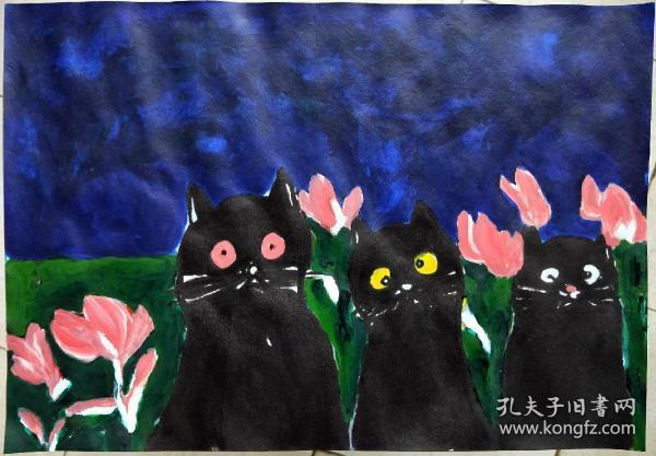 青年书画家胡子彩墨绘画作品:《夜空》