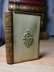 1876年签名赠言  THE BOOK OF COMMON PRAYER   摩洛哥皮脊 三面刷金  仿象牙装帧  带铜锁扣  9.7X6CM