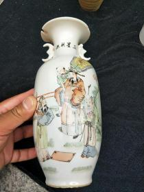 老瓷器,名家画作汪照黎,三星寿图,浅绛彩人物图花瓶一只,民间收藏。包老,有残,看好拍
