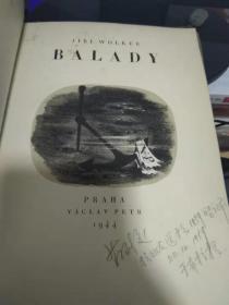 布面精装 著名捷克语翻译家旧藏  捷克文原版 BALADY 有插图