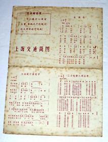 """上海交通简图【带毛主席语录、带\"""":大海航行靠舵手\""""等五首歌曲】"""