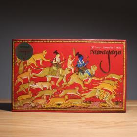 RAMAYANA 现存最好的插图手稿——梅瓦尔·罗摩衍那 印度史诗 巨多印度色彩斑斓的绘画 细密化 有趣 绝版 刷金 华丽