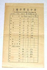 五十年代上海市闸北中学成绩报告单  【4张合售】
