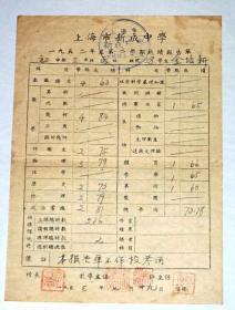 五十年代上海市新成中学成绩报告单  【2张合售】