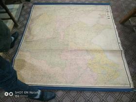 馆藏珍品~原布包边卷轴装160cm×160cm《最新精密华北大地图》昭和十九年(民国三十三年)。