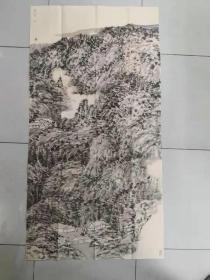 【保真 特惠】中美协会员 学院派青年画家 王静 四尺整张焦墨山水2