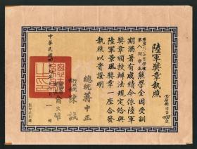 蒋中正、陈诚、俞大维签发《陆军奖章执照》1958年颁发陆军景风奖章