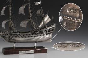 瑞典瓦萨号风帆战舰纯银模型 杰克的罗盘 黑珍珠号