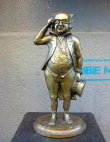 法国 老铜雕 英国作家 狄更斯 1940年 40厘米高 西洋古董收藏品