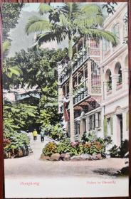 """清代香港""""Palms in Gleneally""""老明信片一枚"""
