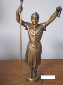 法国 老铜雕 十字军东征 1915年 840克 20厘米高