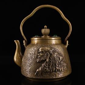 珍藏老纯铜纯手工打造镶嵌宝石达摩茶壶 品相完好 造型独特 重1152克 高14厘米 宽14厘米