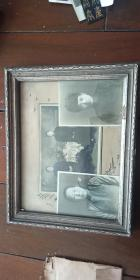 民国 老照片 两口子照片 +2张单人照 合售 带原框