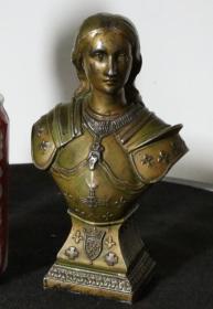 法国 老铜雕 纯银雕塑高17厘米 包浆浓厚 带签名 西洋摆件 古董