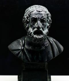 法国 老铜雕 荷马 700克 时间久远 ,底座没有了 荷马 银雕像