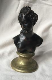 法国 老铜雕 1900年 戴安娜 高17厘米 850克