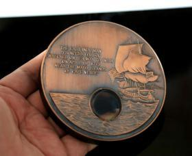 利比里亚2001年沉船超大铜币 直径10厘米 770克 路易莎公主号