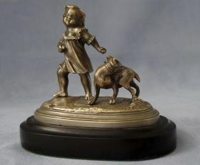 法国 铜雕 桌面摆件 大萌和小萌 840克 高12厘米