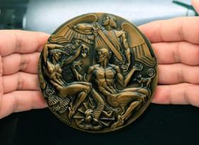 钱币初版 美国章牌设计师协会 126号章 亚当与夏娃 101mm