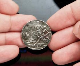 法国 银章 1892年 直径2.7厘米钱币收藏 海神
