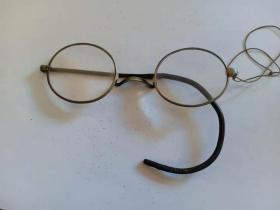 (店)晚清 银白铜框老花镜,软腿,缺一个,10*3.5cm
