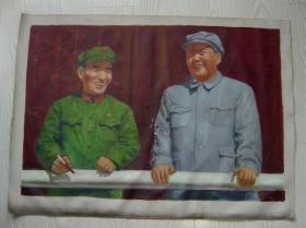 文革时期油画毛主席和林彪副主席在天安门。