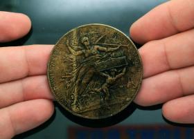 1878年 法国世界博览会 金奖 镀金银章钱币收藏