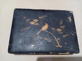 (箱18)晚清 文房用描金漆盒,梅花花鸟图,书画味很好,18.5*13*3cm