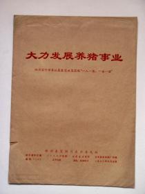 72年,文革活页画册:《大力发展养猪事业》,九开九张全