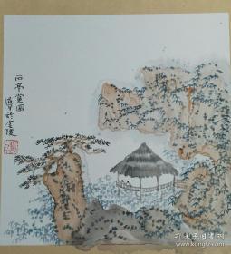 南京著名画家  朱道平  水墨山水册页4幅 卡纸 每幅38x38