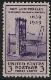 美国1939年,印刷技术300年,老式印刷机,新1全新 雕刻版